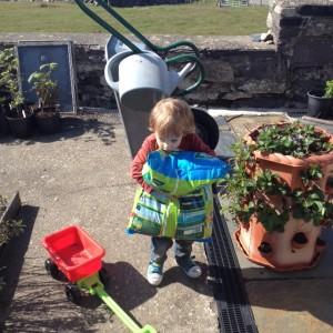 Child carrying compost